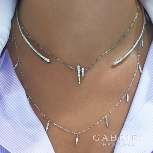 14K White Gold Diamond Choker Necklace with Diamond Spike Drops angle