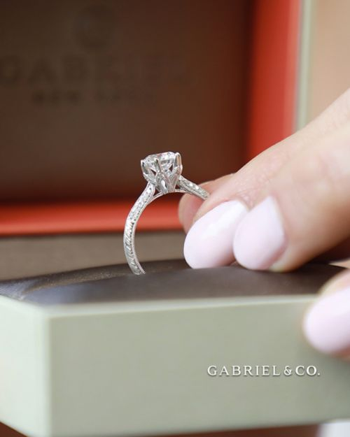 Platinum Round Diamond Engagement Ring angle