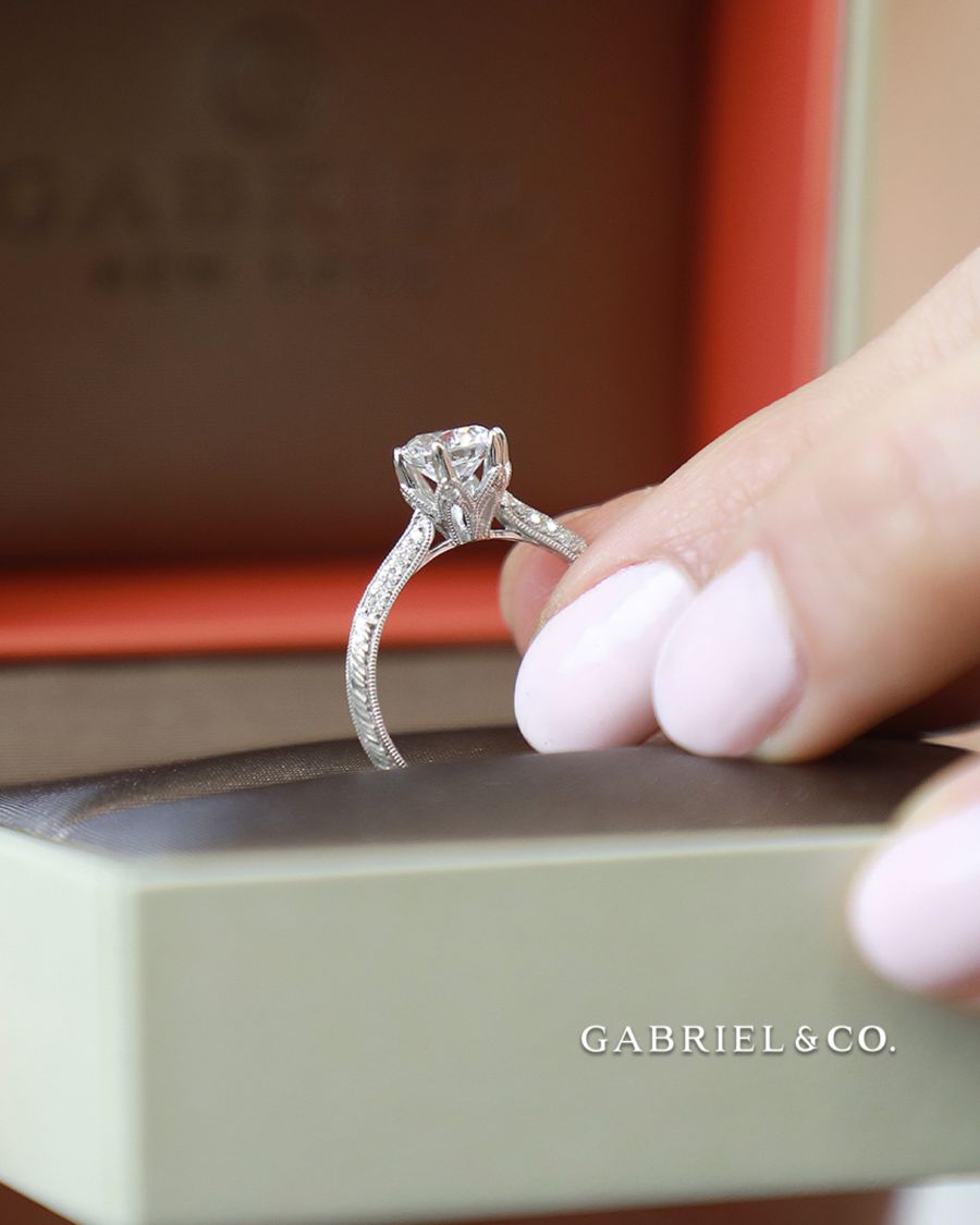 Platinum Round Diamond Engagement Ring angle