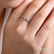 14K White Gold Diamond & Sapphire Ring angle