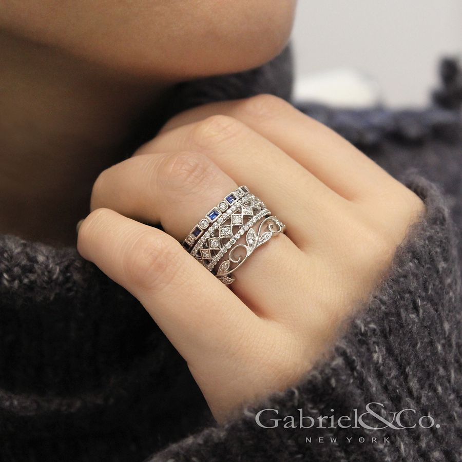 14K White Gold Sapphire Baguette and Diamond Round Eternity Ring angle