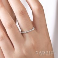 14K White Gold Scalloped Stackable Diamond Ring angle