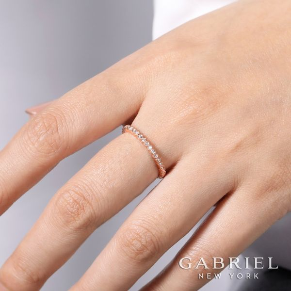 14k Rose Gold Diamond and Circular Stackable Ladies Ring