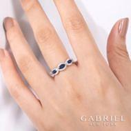 14k White Gold Marquise Sapphire & Pave Diamond Fashion Ring angle