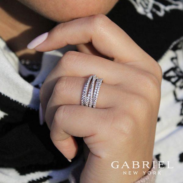 14k White Gold Layered Wide Band Diamond Fashion Ring