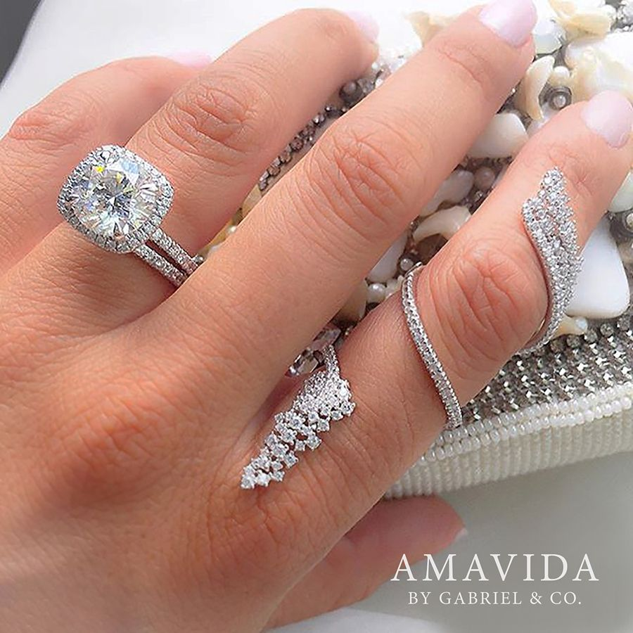 18K White Gold Wide Diamond Cluster Statement Wrap Ring angle