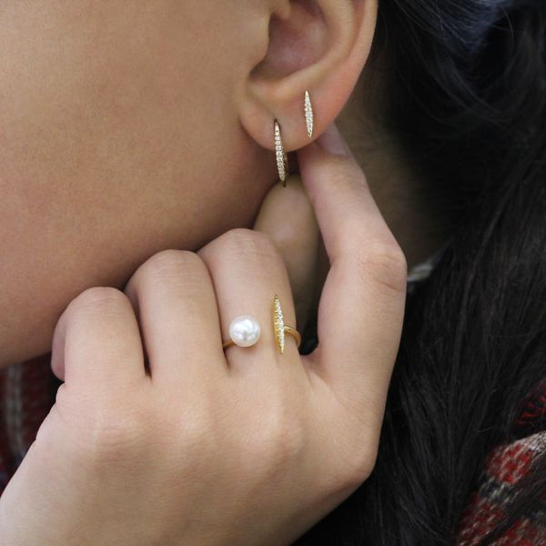 14k Yellow Gold Trends Ear Climber Earrings angle