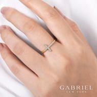 14k Yellow Gold Faith Cross Ladies Ring angle