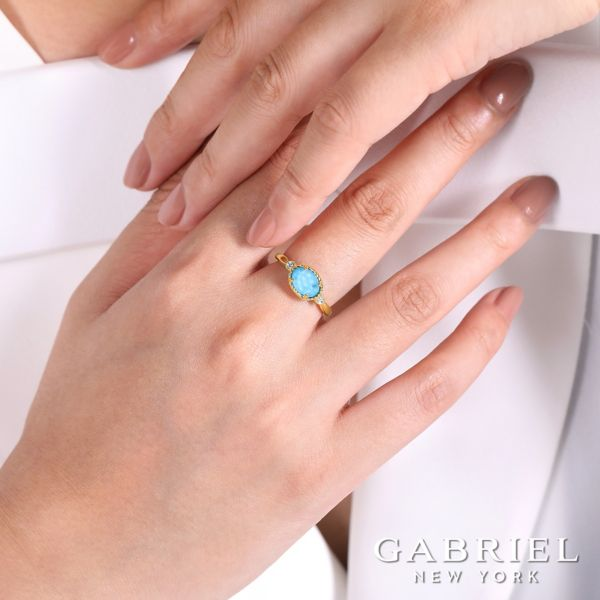 14K Yellow Gold Oval Rock Crystal & Turquoise Diamond Ring