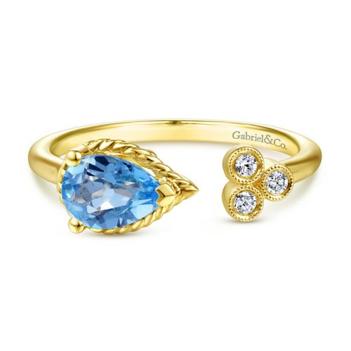 14K Yellow Gold Pear Shape Swiss Blue Topaz and Diamond Split Ring angle