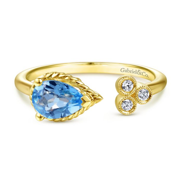 14K Yellow Gold Pear Shape Swiss Blue Topaz and Diamond Split Ring angle
