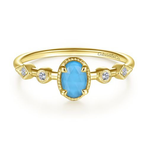 14K Yellow Gold Oval Rock Crystal/Turquoise and Diamond Station Ring angle
