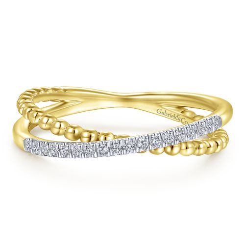 14K Yellow Gold Beaded pavé Diamond Ring