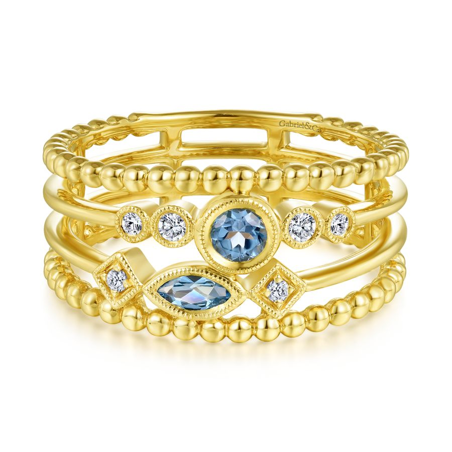 14K Yellow Gold Swiss Blue Topaz and Diamond Multi Row Ring angle