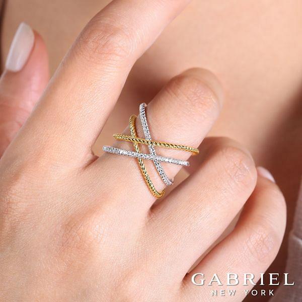 14K Yellow-White Gold Fashion Ladies' Ring angle