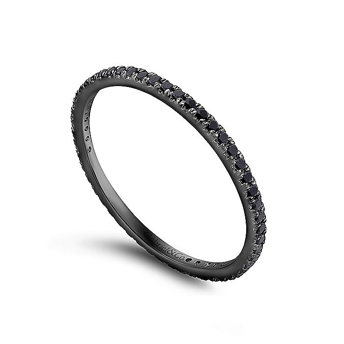 14K Gold With Black Rhodium Micro Pavé Set Black Diamond Eternity Band