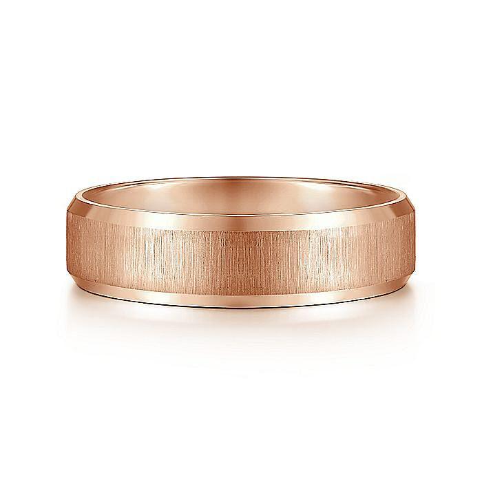 14K Pink Gold 6mm Men's Wedding Band