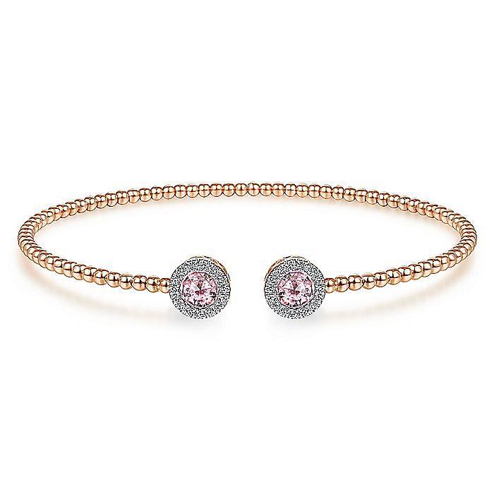 14K Pink Gold Fashion Pink Created Zircon Bangle