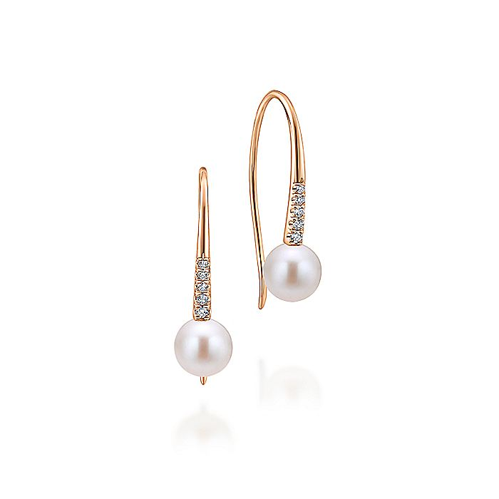 14K Pink Gold PL - Pearl Earrings