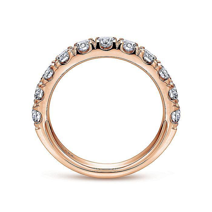 14K Rose Gold 11 Stone French Pavé Set Diamond Wedding Band