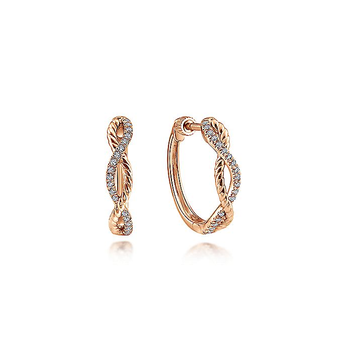 14K Rose Gold 15mm Twisted Diamond Huggies