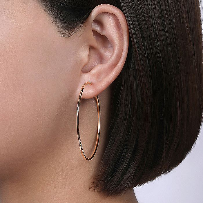 14K Rose Gold 50mm Round Classic Hoop Earrings