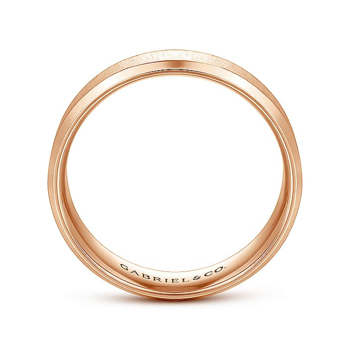 14K Rose Gold 6mm - Sandblast Center and Beveled Edge Men's Wedding Band