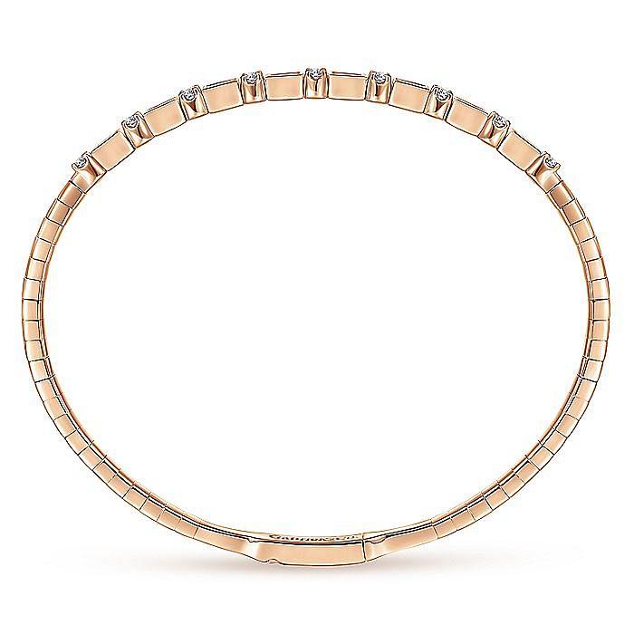 14K Rose Gold Alternating Baguette and Round Diamond Bangle