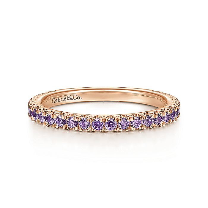 14K Rose Gold Amethyst Stackable Ring