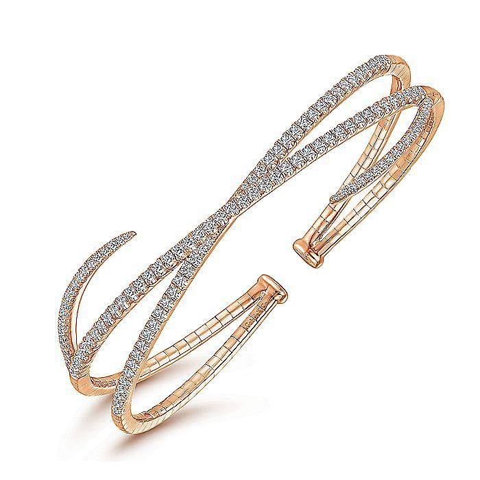 14K Rose Gold Asymmetrical Criss Cross Diamond Bangle