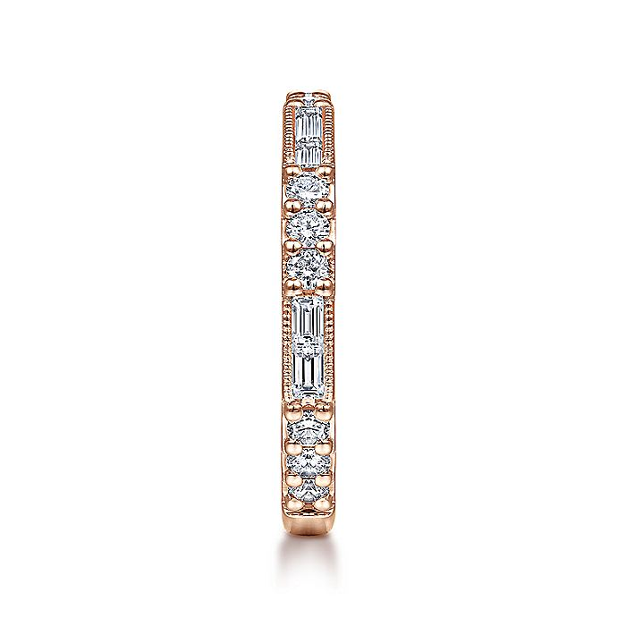 14K Rose Gold Baguette and Round Diamond Stackable Ring