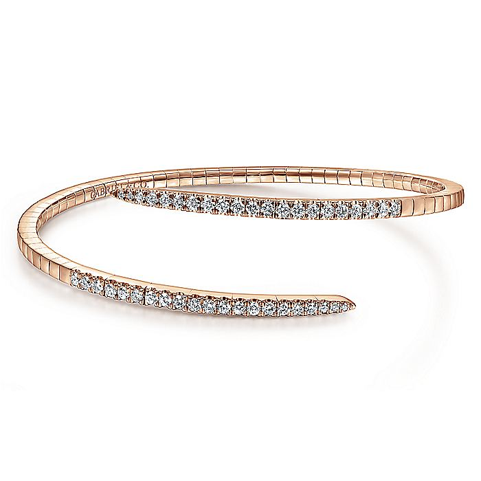 14K Rose Gold Bangle with Diamond Ends