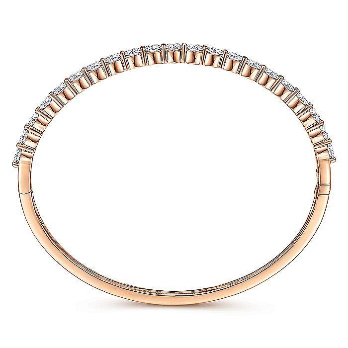14K Rose Gold Bangle with Share prong Diamonds