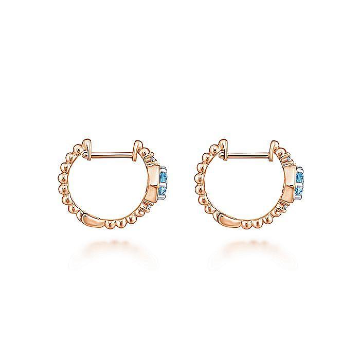 14K Rose Gold Beaded 10MM Blue Topaz and Diamond Huggie Earrings