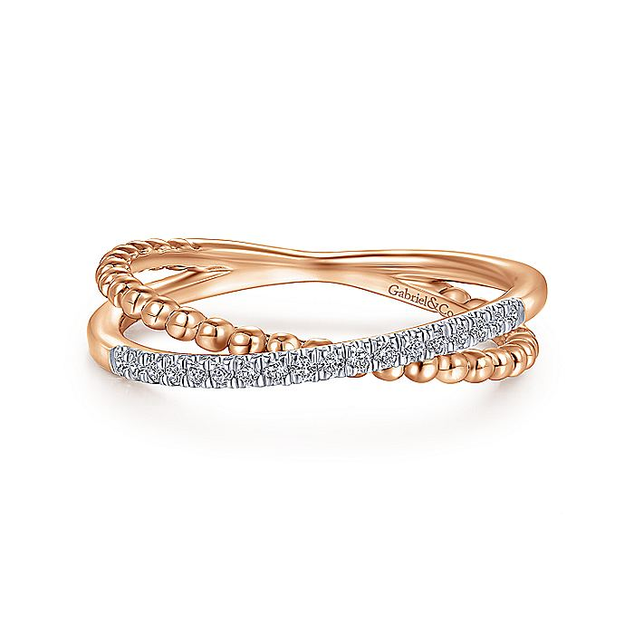 14K Rose Gold Beaded Pavé Diamond Criss Cross Ring
