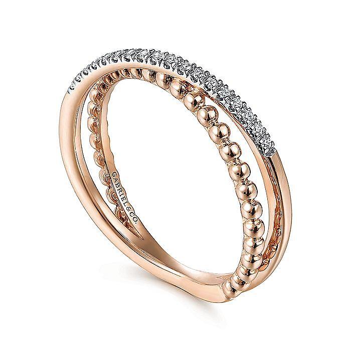 14K Rose Gold Beaded Pavé Diamond Criss Cross Ring