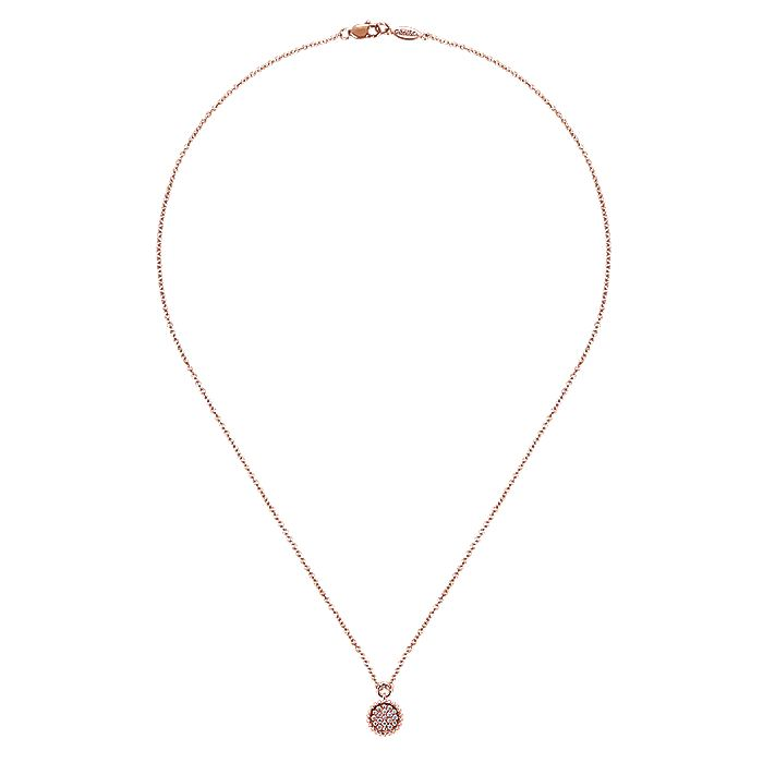 14K Rose Gold Beaded Round Diamond Cluster Pendant Necklace