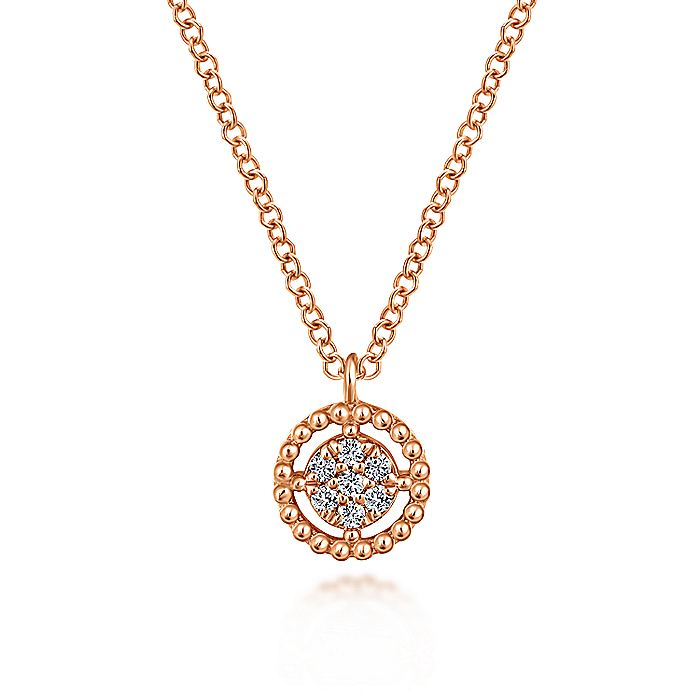 14K Rose Gold Beaded Round Floating Diamond Pendant Necklace
