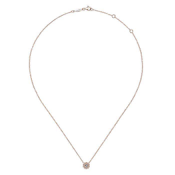 14K Rose Gold Bezel Set Floral Diamond Pendant Necklace
