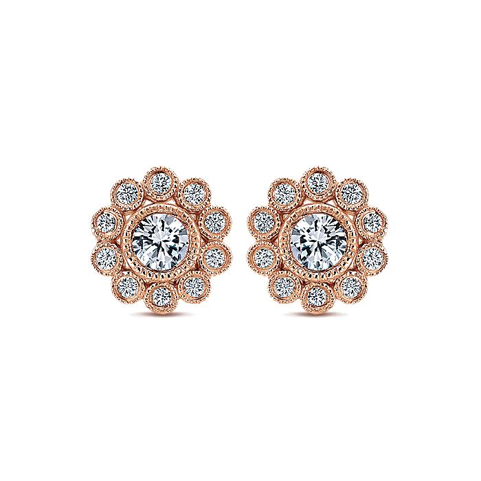 14K Rose Gold Bezel Set Round Diamond Flower Stud Earrings