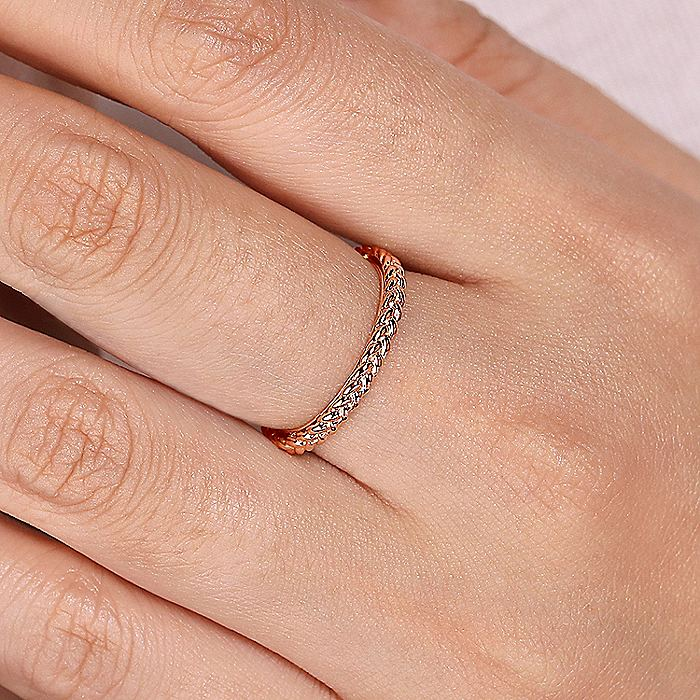 14K Rose Gold Braided Metal Stackable Band
