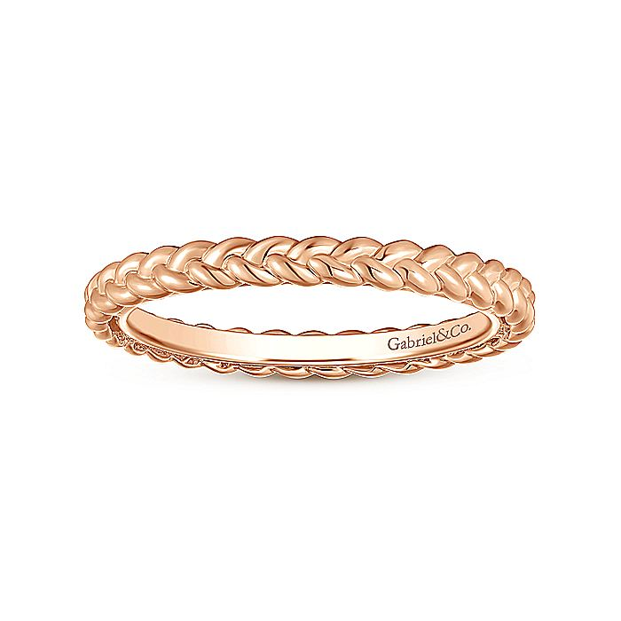 14K Rose Gold Braided Stackable Ring