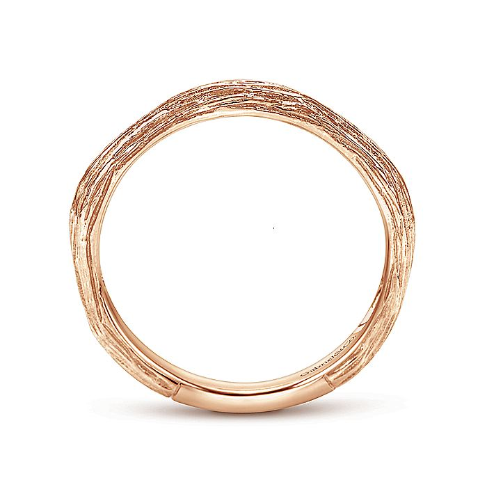 14K Rose Gold Brushed Textured Stackable Band
