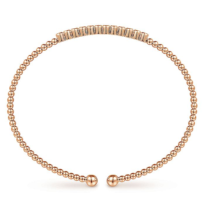 14K Rose Gold Bujukan Bead Cuff Bracelet with Bezel Set Diamond Stations