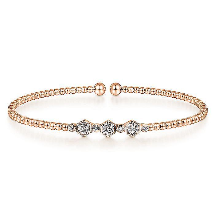 14K Rose Gold Bujukan Bead Cuff Bracelet with Cluster Diamond Hexagon Stations