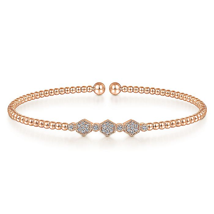 14K Rose Gold Bujukan Bead Cuff Bracelet with Cluster Diamond Hexagon Stations