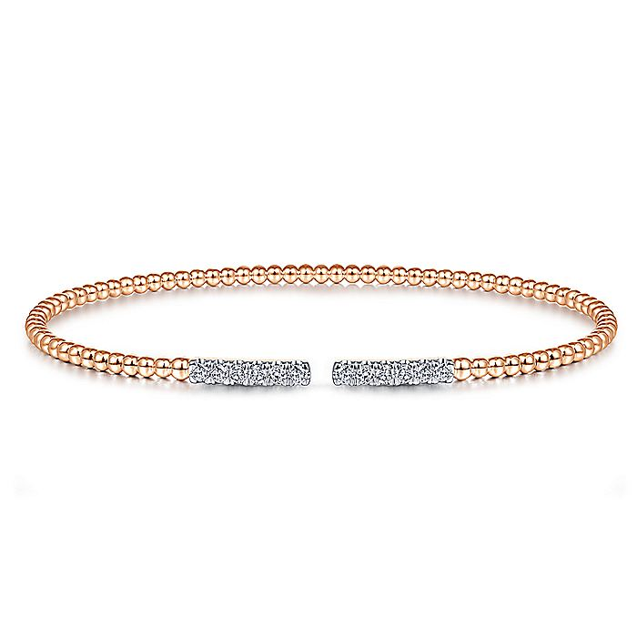14K Rose Gold Bujukan Bead Cuff Bracelet with Diamond Pavé Bars