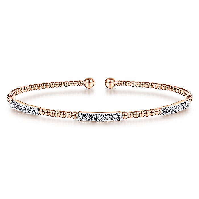 14K Rose Gold Bujukan Bead Cuff Bracelet with Diamond Pavé Stations