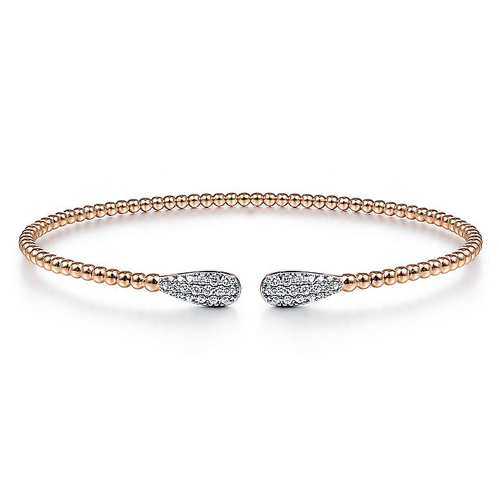 14K Rose Gold Bujukan Bead Cuff Bracelet with Diamond Pavé Teardrops