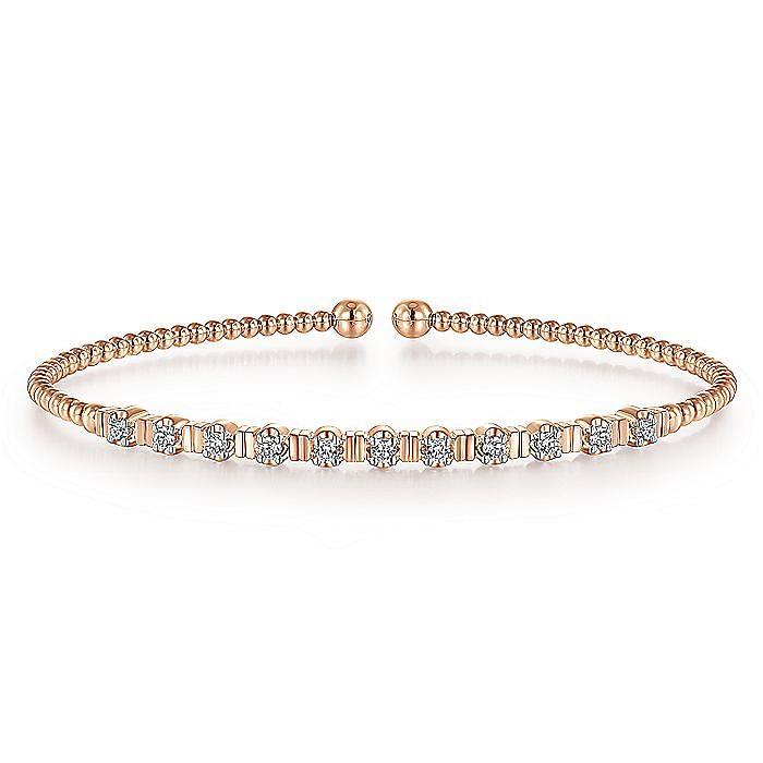 14K Rose Gold Bujukan Bead Cuff Bracelet with Diamond Stations